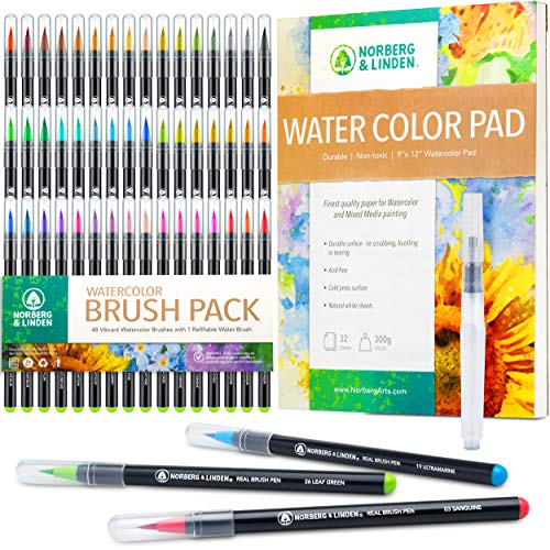 Norberg & Linden XL50 Waterbrush Set - 48 Watercolor Paint Markers, 1 Refillable Water Brush, Painting Pad - Nylon Tips for Drawing & Calligraphy - Coloring Pens for Professional & Beginner Artists