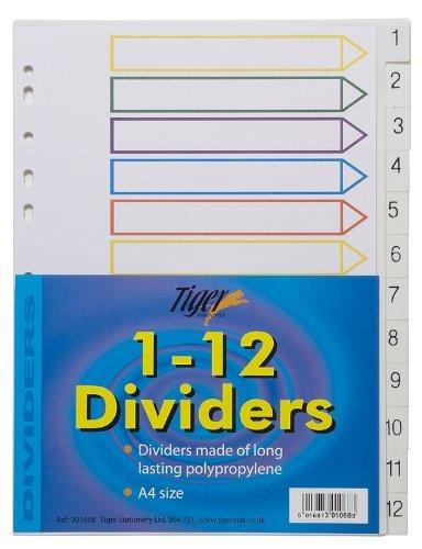 Tiger Papelería INDICE LIMA CARPETA Sección Divisor conjuntos para Cuaderno Anilla - A4 - 1-12 Numbered x 1