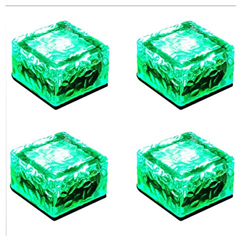 GFSD Solar LED Light Ground Lights Waterproof Ground Clear Glass Ice Rock Brick for Outdoor Yard Deck Road Path Garden Decoration Holiday decoration (Color : Red light, Size : 7x7x5cm)