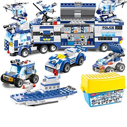 Dittzz City Polizei Bausteine Spielzeug, SWAT Polizeistation Polizeistation Konstruktionsspielzeug mit Polizeiauto, Polizei Hubschrauber, Motorrad für Kinder, Compatible with Lego
