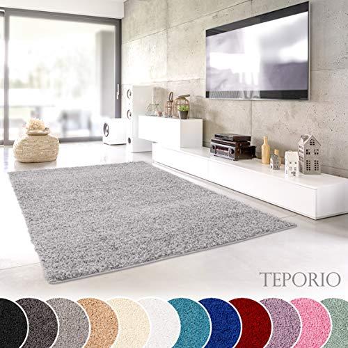 Teporio Shaggy-Teppich | Flauschiger Hochflor fürs Wohnzimmer, Schlafzimmer oder Kinderzimmer | einfarbig, schadstoffgeprüft, allergikergeeignet (Grau - 240 x 340 cm)