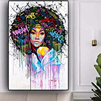 抽象的な油絵アートキャンバスプリントポスター、女性の顔モダンな家族の寝室の装飾ポスター、キャンバスアートポスターとリビングルームの壁アート画像フレームなし-D_60X80Cm