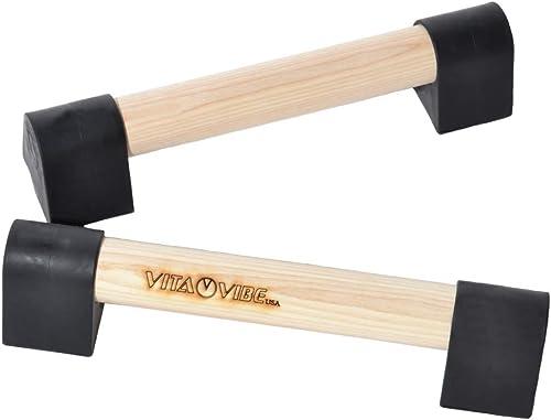 Vita Vibe - Ultra Portable Mini Wood Parallettes Set - 9 inch - 12 inch - USA Made