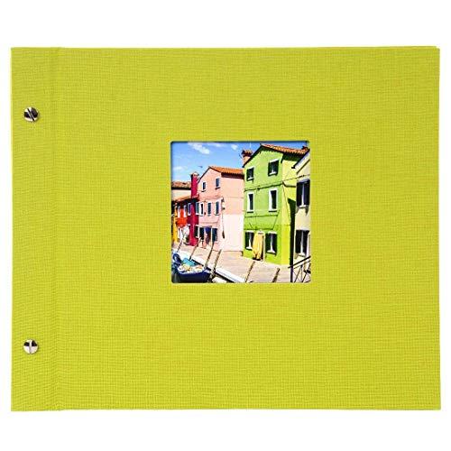 Goldbuch Schraubalbum mit Fensterausschnitt, Bella Vista, 30 x 25 cm, 40 weiße Seiten mit Pergamin-Trennblättern, Erweiterbar, Leinen, Grün, 26896