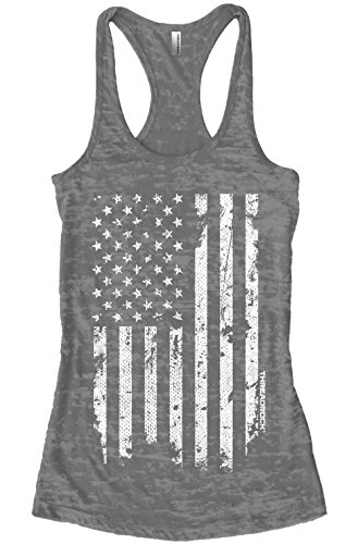 Threadrock Women's White Distressed American Flag Burnout Racerback Tank Top L Charcoal