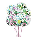 Amosfun Fiesta Hawaiana Globos Flamingo Confetti Globos Cactus Piña Globos para Cumpleaños Boda Tropical Party Supplies 6 unids