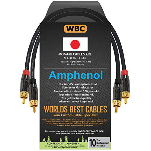 0.5 Foot – High-Definition Audio Interconnect Cable Pair CUSTOM MADE By WORLDS BEST CABLES – using Mogami 2964 wire and Amphenol ACPL Black Chrome Body, Gold Plated RCA Connectors