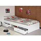 Kinderbett Alawis 90 x 200 cm weiß inkl 2 Roll-Bettkästen
