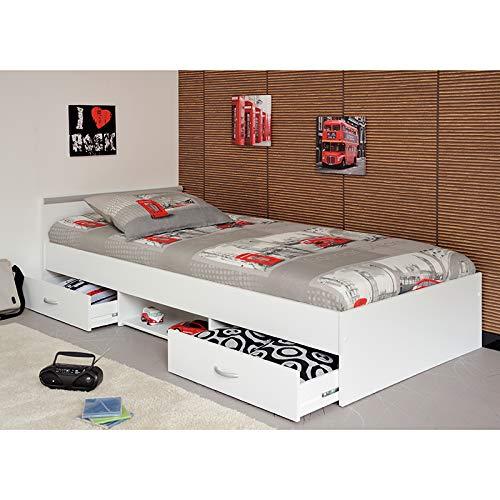 Funktionsbett Alawis weiß mit 2 Roll-Bettkästen Kinderbett Jugendbett