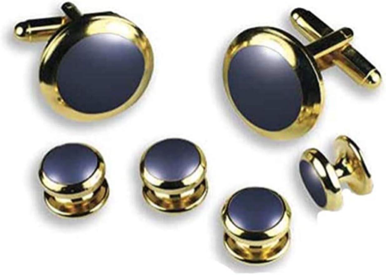 Royal Blue Tuxedo Studs and Cufflinks Set Gold Trim
