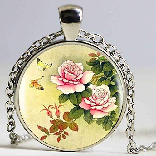 Halskette mit chinesischem Pfingstrosen-Anhänger, chinesische Kultur, Bronze, Vintage-Halskette für Damen und Herren