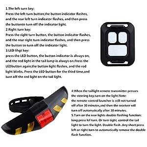 MASO - Luz trasera para bicicleta LED con mando a distancia inalámbrico y modos multifuncionales recargables impermeable Ciclismo luz de advertencia para bicicleta de montaña, bicicleta de carretera
