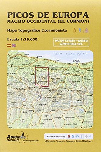 Picos de Europa. Macizo Occidental (El Cornión). Mapa: Mapa topográfico excursionista. Escala 1:25000