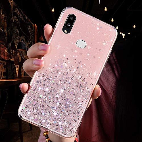 Saceebe Compatible avec Samsung Galaxy A10S Coque Silicone Paillette Strass Brillante Bling Glitter Étoile Fille Femmes Housse Transparente TPU Souple Etui Mince Cristal Cover Anti-Choc,Rose