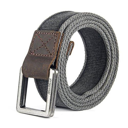 Chao Brand Corean Alphabet Impreso Cinturón de lona Cinturón de doble anillo para hombres y mujeres, amarillo, Talla única