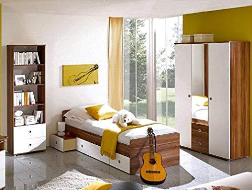 moebel-guenstig24.de Jugendzimmer-Set Kinderzimmer Wiki Bett Regal Schrank 3 TRG. Walnuss Nachbildung wei�