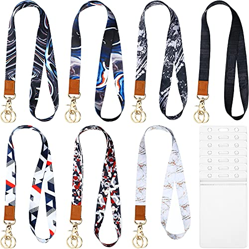 7 Pieces Neck Lanyard Keychain Detachable Lanyard Strap Safety ID Card Neck Lanyard Keychain Neck Straps with Vertical Clear ID Holder for Nurse Doctor Student Teacher (Stylish Design)