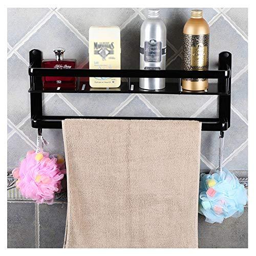 ZHANWEI badrumsförvaring med krokar på väggen monterad handdukshållare duschkorg badrumshylla 2 nivåer rymd-aluminium toalett kök ställ, 2 storlekar (färg: Svart, storlek: 40 x 12,5 x 23,5 cm)