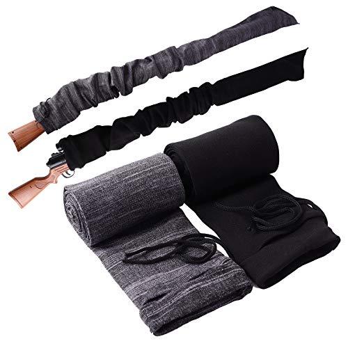 Tildaks 2PCS Rifle Gun Sock Sleeve, Anti-Rust 52'' Rifle Gun Cover with Drawstring Closure, Silicone Treated Knit Soft Gun Protector Sock Case for Shotguns Rifles (Gray+Black)