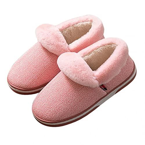 PZHHZPING Hausschuhe Damen Herren Plüsch Pantoffeln Winter Warm Hausschuhe Weiche Bequeme Flacheschuhe rutschfeste Outdoor/Indoor 2021