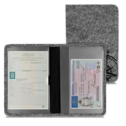 kwmobile Fahrzeugschein Hülle Cover mit Kartenfächern - Filz Etui Tasche Zulassungsbescheinigung Kompass Vintage Schwarz Hellgrau