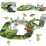 Circuit Voiture Jouet Dinosaure Cars-Circuit de Voiture Electrique Jeu Dinosaure Jouet Enfant 3-7 Ans,Jeux Dinausores Interactif Voiture Cars Cadeau Jouet Enfant 3 4 5 6 Ans Garçon Fille(169 pièces)