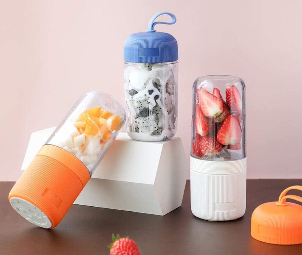 HEWEI - Exprimidor de zumos recargable por USB, mini mezclador portátil para viaje, color naranja para el hogar, cocina, oficina, deportes al aire libre, viajes Blanco