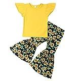 Lefyira Toddler Baby Girl Summer Outfit Ruffle Sleeveless Shirt Tank Top T-Shirt Camo Flare Pants Sunflower Bell Bottoms (Yellow, 4-5T)