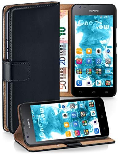 MoEx Cover a Libretto Compatibile con Huawei Ascend Y550 | Fessura Carta + Soldi, Supporto, Nero