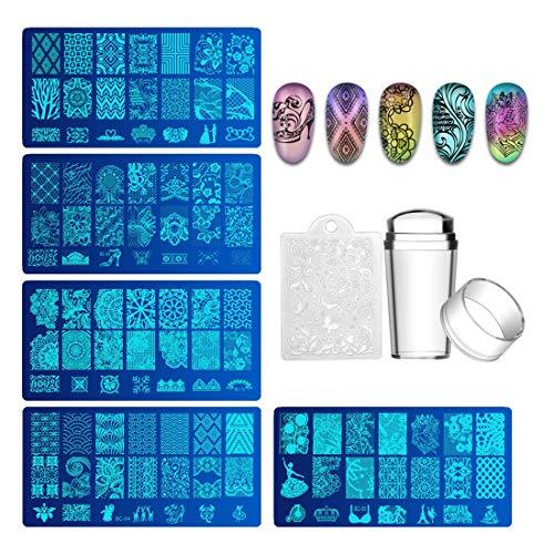 BiuteeSet di Nail Art Stamping 5pcs Nail Template Piastra per Unghie+ 1pcs Raschietto+1pcs Stamper Per manicure