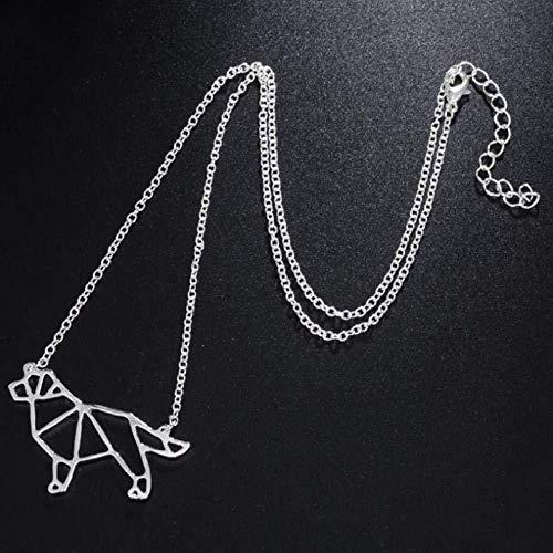 Collar Boho Hippie Vintage Origami Bull Terrier Colgante Collar Geométrico Cadena de...