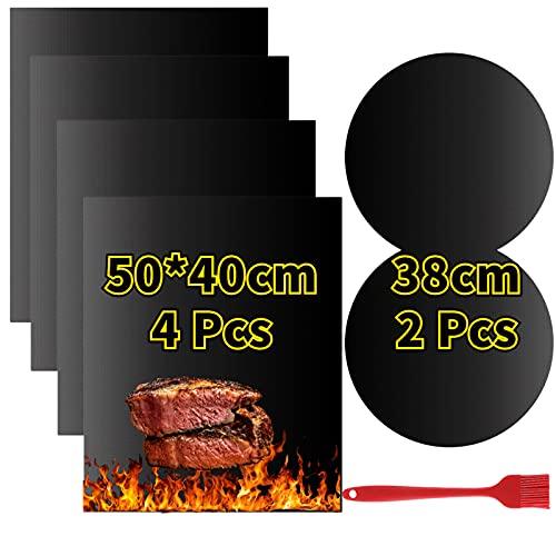 VLVEE Tapis de Cuisson Barbecue, Set de 6 Feuille (Contient 2 Tailles) de Tapis BBQ Barbecue Anti-AdhéRent RéUtilisable pour Les Barbecue à Gaz, Charbon ou éLectriques