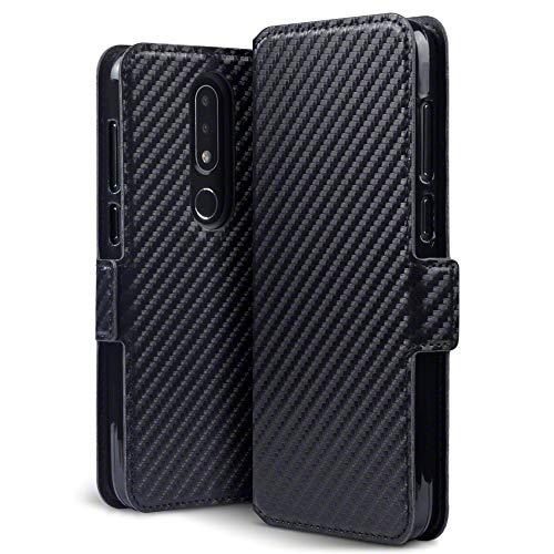 TERRAPIN, Kompatibel mit Nokia 6.1 Plus Hülle, Leder Tasche Case Hülle im Bookstyle mit Standfunktion Kartenfächer - Schwarz Karbonfaser Dessin