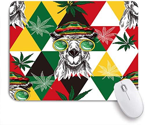 Dekoratives Gaming-Mauspad,Marihuana, Kamele in Rastaman Hut, Hanf und Dreiecke,Bürocomputer-Mausmatte mit rutschfester Gummibasis