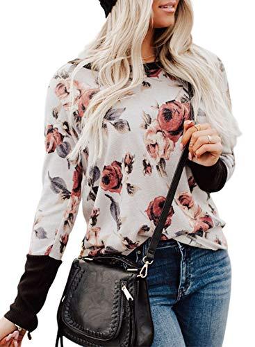 Blusa de manga larga con estampado de flores, estilo vintage, a rayas, con puños elásticos, cuello redondo, para mujer