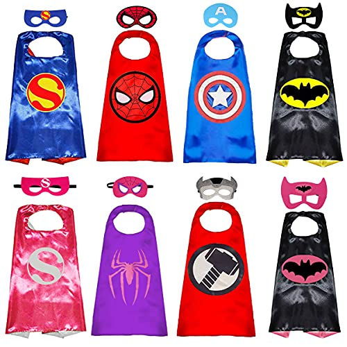 Superhero Capes with Masks Double Side Dress up Costumes Festival Christmas Halloween Cosplay Birthday Party for Kids (Double Side-Superheros 4Sest)