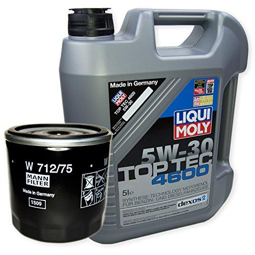 LIQUI MOLY Top Tec 4600 5W-30 3756 + MANN FILTER Ölfilter W 712/75