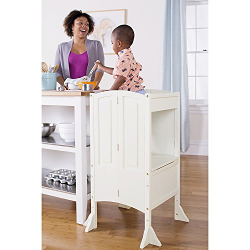 Guidecraft Heartwood Kitchen Helper Stool - White W/Keeper and Non-Slip Mat: Adjustable Height Wooden Baking Tower, Folding Step Stool for Toddlers, Little Kids Learning Furniture