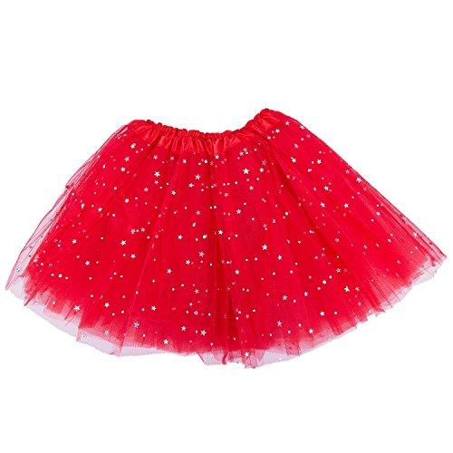TOOGOO Smart Baby Girl Clothes Stars Lentejuelas Enagua Ballet Danza Fluffy Tutu Falda rojo
