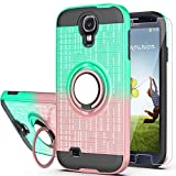 S4 Case,Galaxy S4 Phnoe Case,Galaxy S4 Case with HD Screen Protector,AYMECL 360 Degree Ring Holder Gradient Dual Layer Protective Case for Samsung Galaxy S4-BG Mint&Rose Gold