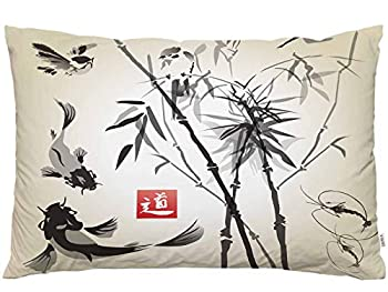 EKOBLA Throw Pillow Cover Japanese Painting Asian Oriental Japan Birds Bamboo Fish Hand Drawn Ink Style Decor Lumbar Pillow Case Cushion for Sofa Couch Bed Standard Queen Size 20x30 Inch