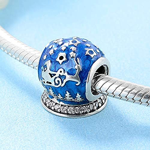 Women's Bead Charms,925 Sterling Silver Santa Claus and Deer Blue Enamel Wish Ball Beads Fit Original Charm Bracelet Jewelry Making