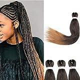 66cm-Extension per Trecce Africane 3 Pezzi Capelli Lunghi Soffice Braiding Hair Extension Treccine per Capelli Finti-Nero Scuro a Castano Ramato Chiaro