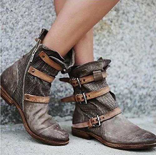 LCCYJ Botas Chunky Tacones Bajos Zapatos de Punta Redonda Mujer Gladiador Botines de Cuero PU Vintage,Gris,43