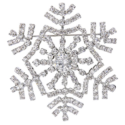 EVER FAITH Spilla Gioiello, Austriaco Cristallo Inverno Fiocco di Neve Fiore Spilla Pin Trasparente Argento-Fondo