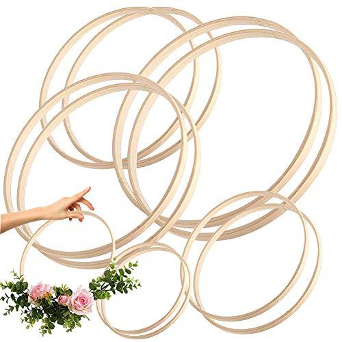 LLMZ Cerchi Anelli di bambù Cerchi Motivo Floreale, in macramè, per Decorazioni Fai da Te, ghirlande Nuziali, acchiappasogni e lavori da Appendere alla Parete