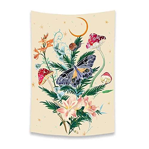 RUMUI Tapiz Floral de Mariposas 3D, Seta, Luna, Estrella, Colgante de Pared, Arte, tapices estéticos pastorales, decoración de Dormitorio, 95x75cm