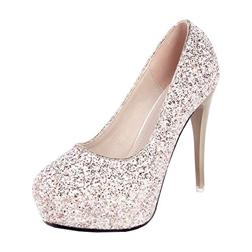 Dearney Damen Stiletto High Heels Glitzer Plateau Pumps mit Pfennigabsatz 12cm Super High Heels Pailletten Damenschuhe(Gold,38)