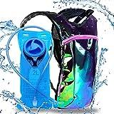 Sojourner Rave Hydration Pack Backpack - 2L Water Bladder Included for Festivals, Raves, Hiking, Biking, Climbing, Running (Laser Green Purple)