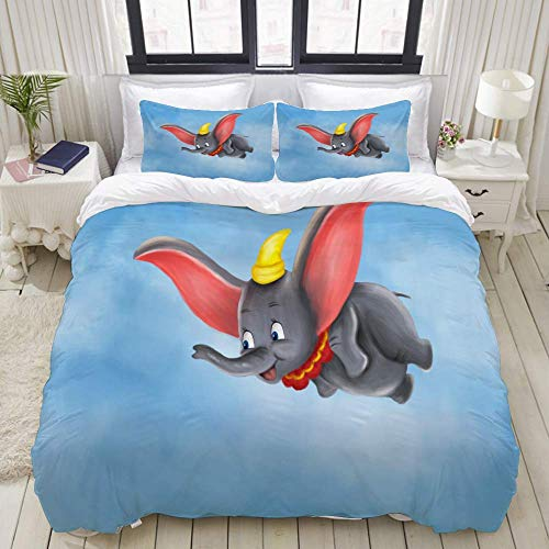 Duvet Cover Set, Cutecartoon Animal Wild Dumbo Elephant Fly, Colorful Decorative 3 Piece Bedding Set with 2 Pillow Shams